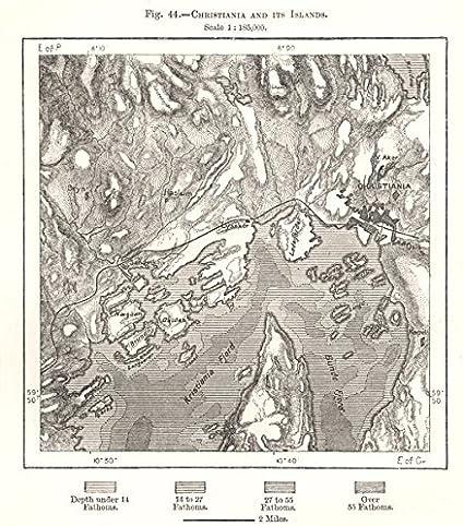 Cartina Della Norvegia Da Stampare.Cristiania Oslo E Le Sue Isole Norvegia Schizzo Mappa 1885 Antica Mappa Vintage Mappe Stampate Della Norvegia Amazon It Casa E Cucina