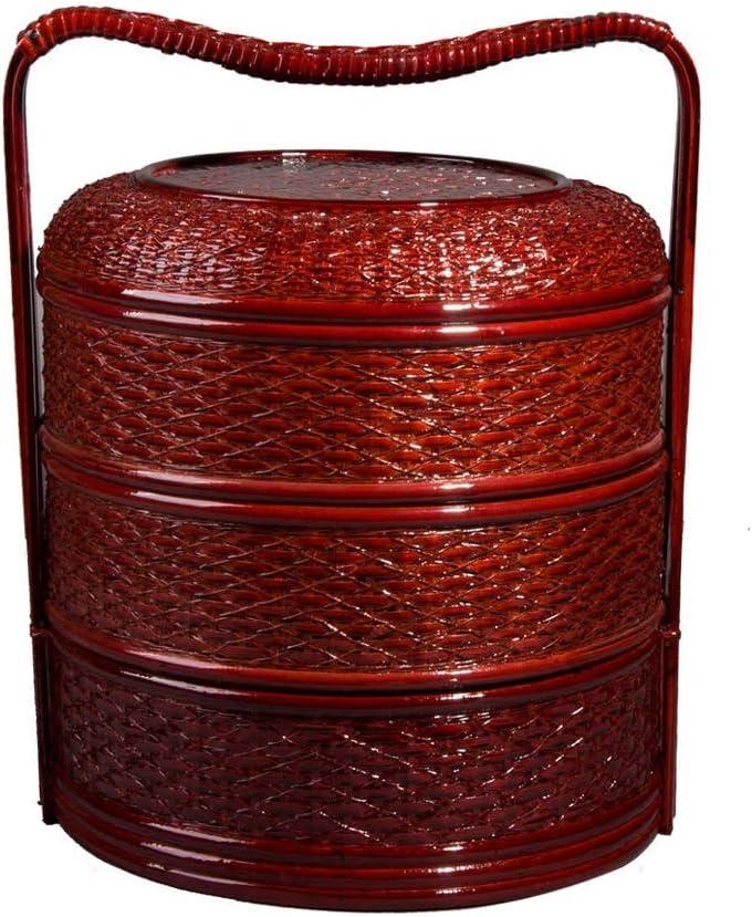 ポータブル竹ピクニックバスケット3段のラウンド収納ボックス&チェストポータブルショッピング収納ギフトバスケットランチボックス (Color : Redwood, サイズ : 16.53*17.71inchs)