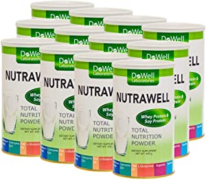 NUTRAWELL Total Nutrition Powder - Whey Protein & Soy Protein, Selenium Yeast, Coenzyme Q10, Fish Oil, L-Glutamine, Arginine, Taurine, Dietary Supplement, Proprietary, 450g, 12 Count