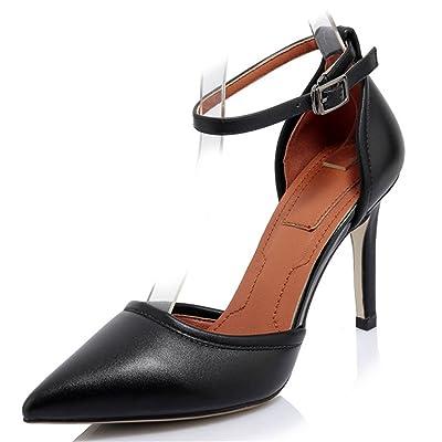 Nine Seven Cow Leather Women's Pointed Toe Stiletto Heel Elegant Handmade Ankle Strap Pumps