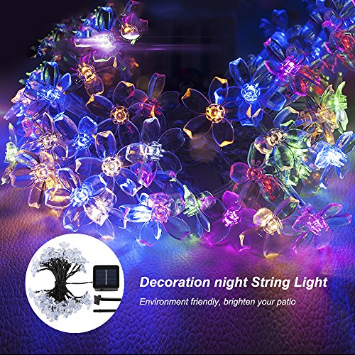 Outdoor solar powered string lights waterproof Blossom Flower 23 FT 50 LEDs colorful Decorative lighting for home, Gardens, Lawn, Patio, yard (String Flower Lights Colorful)