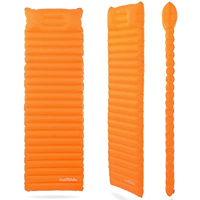 Air gonflable Sleeping Pad Tapis de coussin de lit – Orange + Blanc