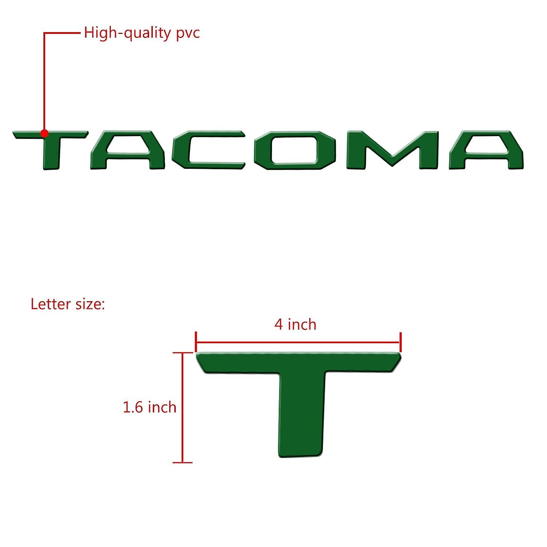 YaaGoo Tailgate Letter Fit 2014-2018 Toyota TACOMA,Insert Hard Plastic Sticker,Matte Green