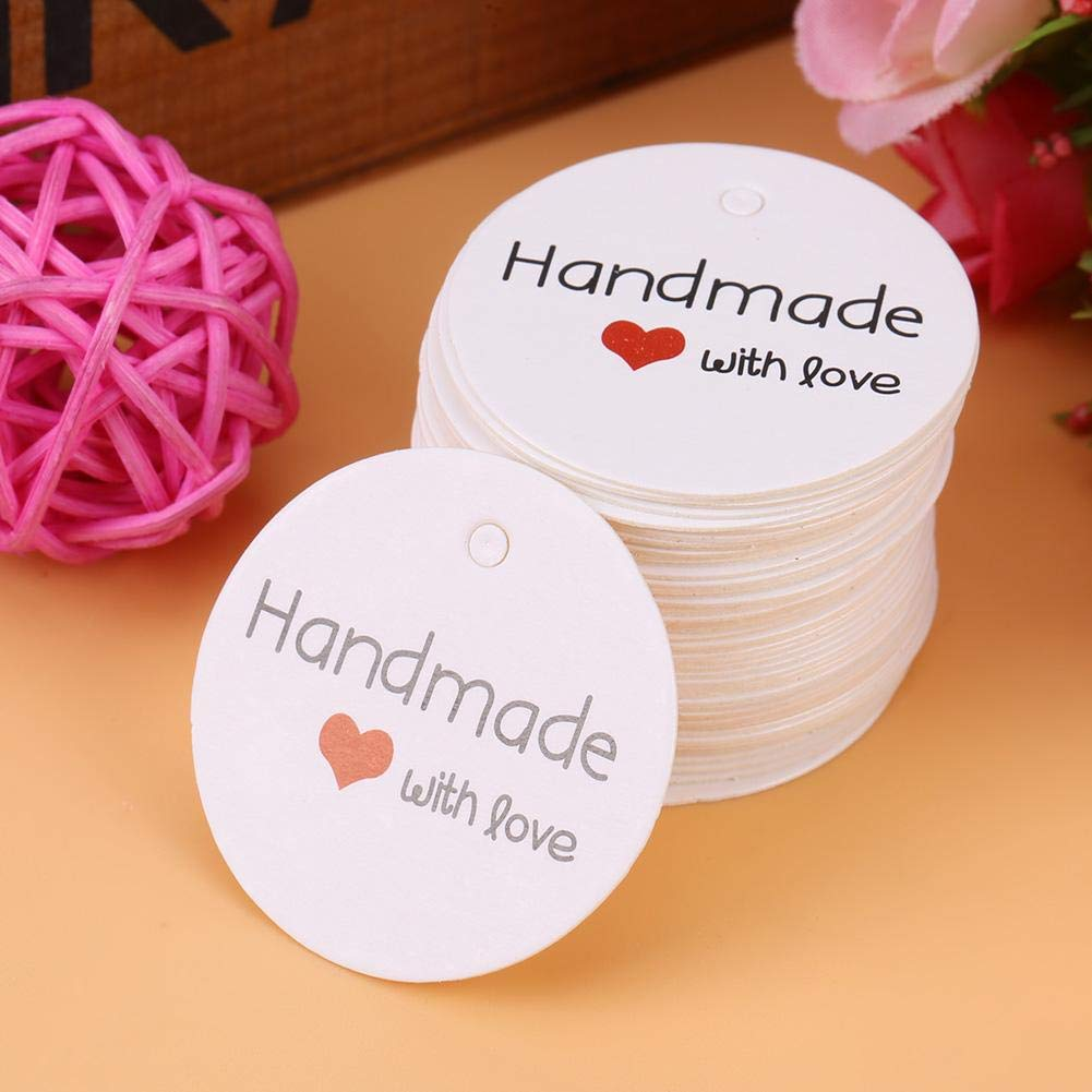 White Rounded Handmade Hang Label with Small Hole Original Design Delicate Gifts Dessert Tag for Baby Shower Party Favour Clothing Jewelry Price 100PCS Wedding Favor Gift Tags 1.38 x 1.38in #1