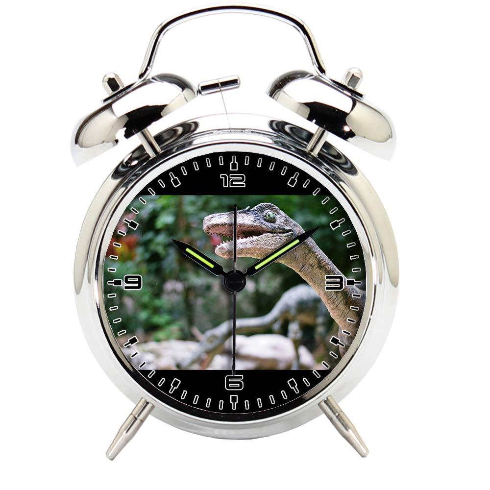 Children's Room Silver Dinosaur Silent Alarm Clock Twin Bell Mute Alarm Clock Quartz Analog Retro Bedside and Desk Clock with Nightlight-220.325_Dinosaur, Zoo, Velociraptor, Animal, Lizard, Bratislava