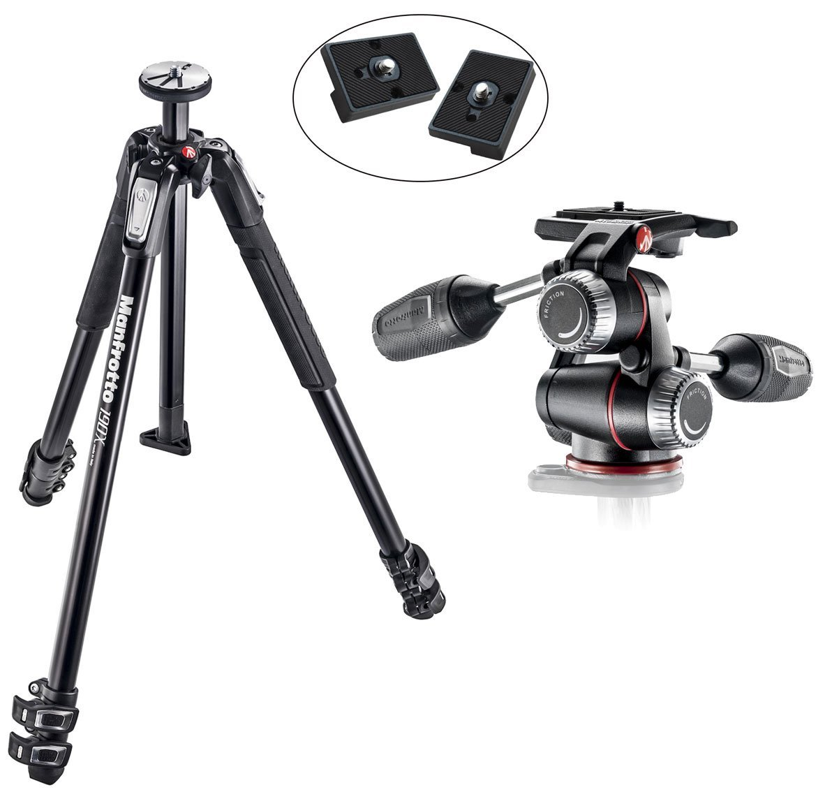 Manfrotto MT190X3 3 Section Aluminum Tripod With X-PRO 3-Way Head with Retractable Levers & Friction Controls with Two Replacement Quick Release Plates for the RC2 Rapid Connect Adapter