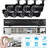 KKmoon 8CH DVR Security System 720P CCTV Surveillance DVRSystem Onvif DVR + 8pcs 720P Waterproof Bullet Camera + 8pcs 60ft Cable support Night Vision Weatherproof Plug and Play Android/iOS APP CMS