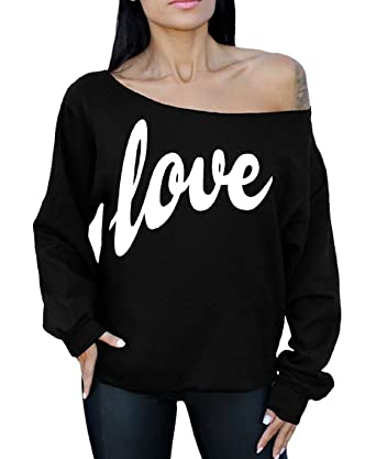 d3b390500e49f9 Awkwardstyles Love Off The Shoulder Oversized Slouchy Sweatshirt White S  Black
