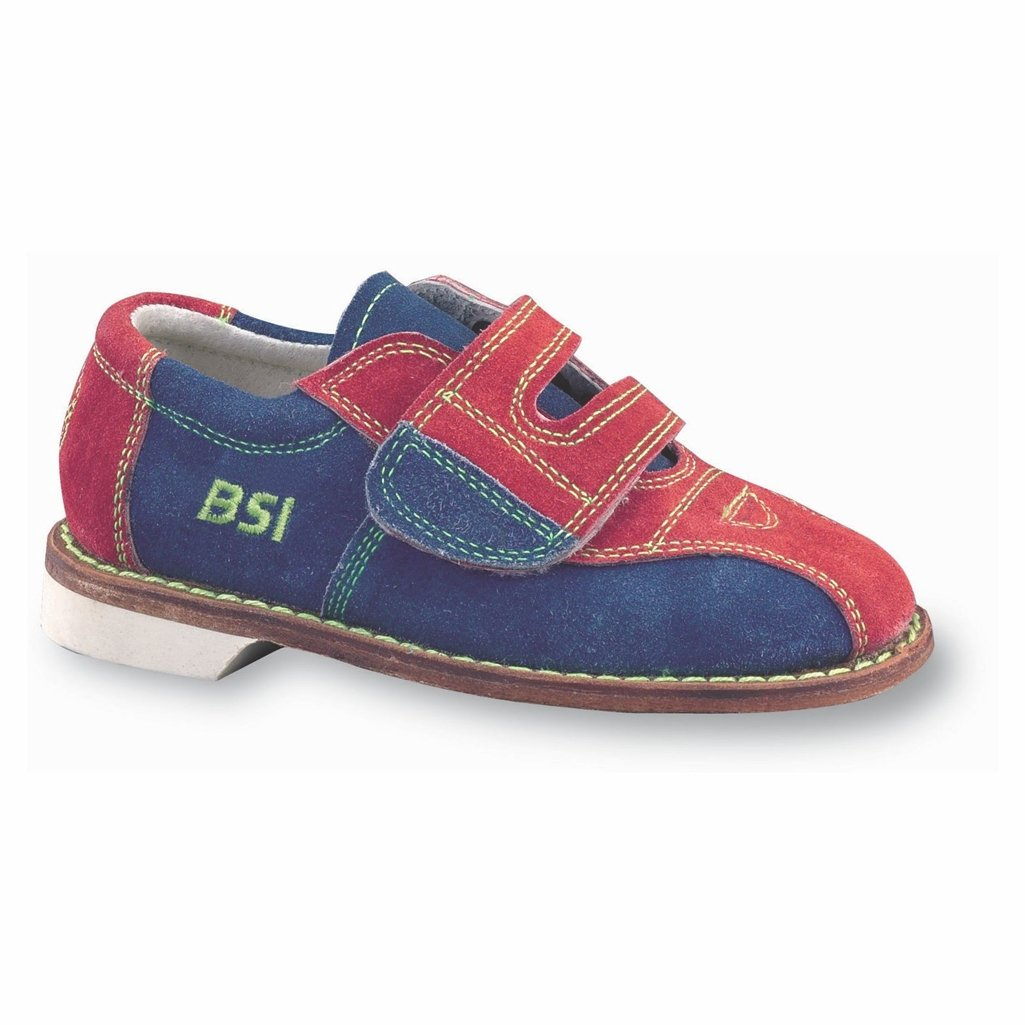 BSI Boys Suede Rental Bowling Shoes- Hook and Loop (Youth 1 M US, Red/Blue)