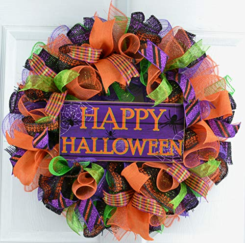 Happy Halloween Wreaths | Mesh Outdoor Front Door Wreath; Black Orange Purple Lime Green