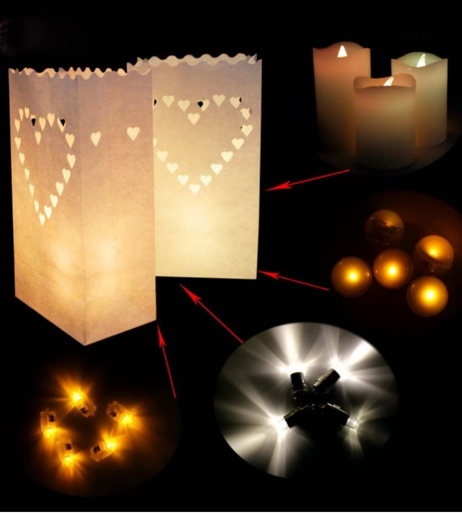 10 Pcs, Heart-Shaped Zaptex Luminary Paper Lantern Candle Tea Light Bag with Flame Resistant Paper for Holiday Party Decorations