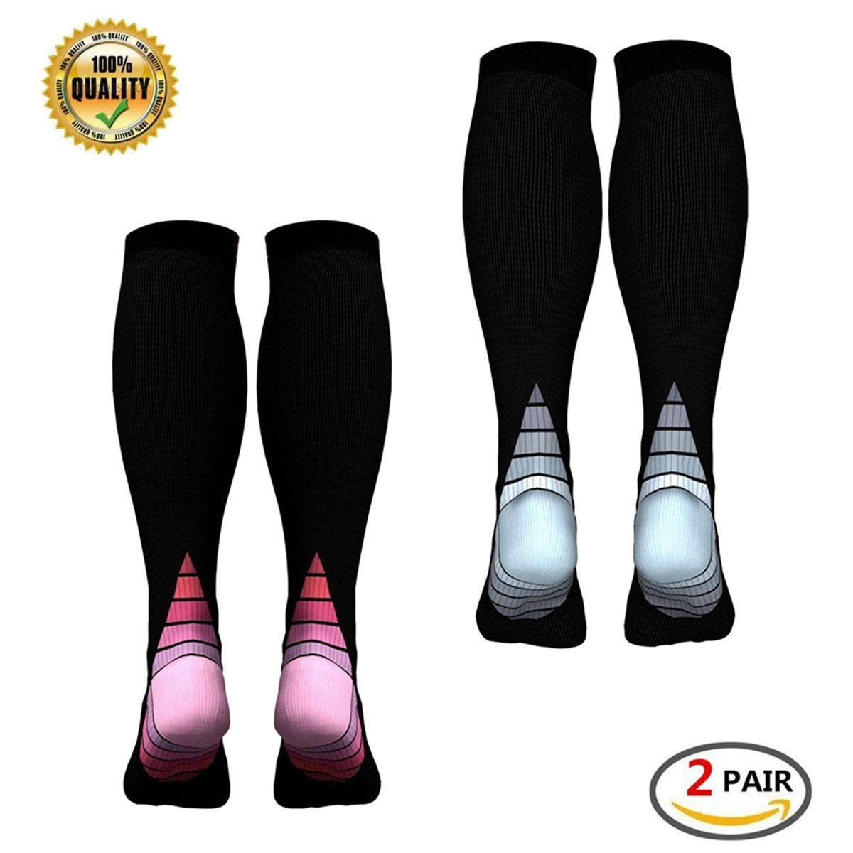 Varicose Veins Best Footless Compression Socks for Running Flight Travel Pregnancy Flying Nurses Medical Shin Splints Boost Stamina 2 Pairs Graduated Calf Compression Sleeves for Men /& Women