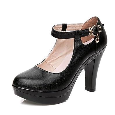 d5c197599f138 KALENDS Ladies Black Genuine Leather Fashion Buckle High Heels Work Shoes  Uniform Pumps
