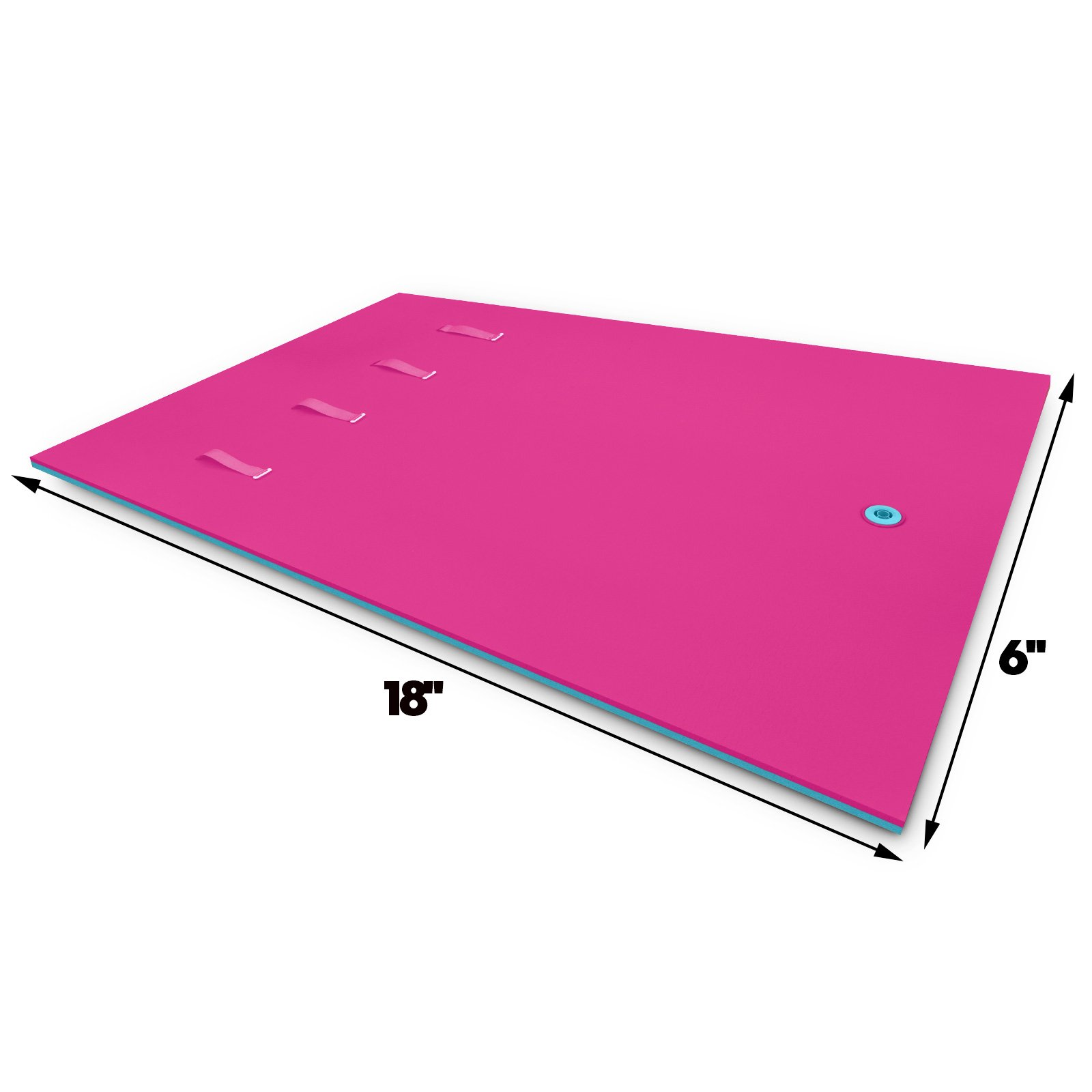 Popsport Floating Water Mat Series Floating Foam Pad Water Recreation and Relaxing in Pool/Beach/Lake Water Floating Mat with DIY Head Pillow for Adults and Kids (Pink&Blue, 18X6FT) by Popsport (Image #2)