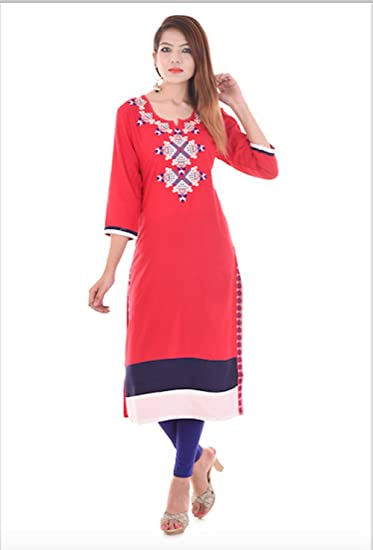 2553bee27ba Paridhi Fashion Red Rayon Embroidered Latest designer Straight KURTI ...