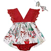 Infant Baby Girl Christmas Romper Dress Ruffle Sleeveless Lace Romper Tutu Skirt Headband Christmas Outfit Clothes
