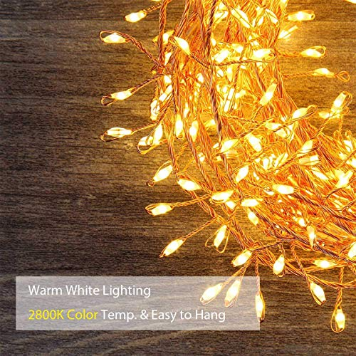 GreenClick LED String Lights, 200 LEDs Battery Powered Fairy Lights Warm White with Remote Control for Festival Christmas Wedding Holiday and Party
