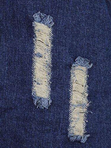 Hem Kleid Denim Blau S mit Kaci M Distressed Dark Anna Fit Taschen aufgesetzte TzSwzq