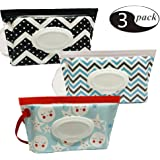 Glucktrade Baby Portable Travel Wipes Cases Portable Wet Wipe Pouch Dispenser Travel Clutch Dispenser Holder for Baby or Personal Wipes