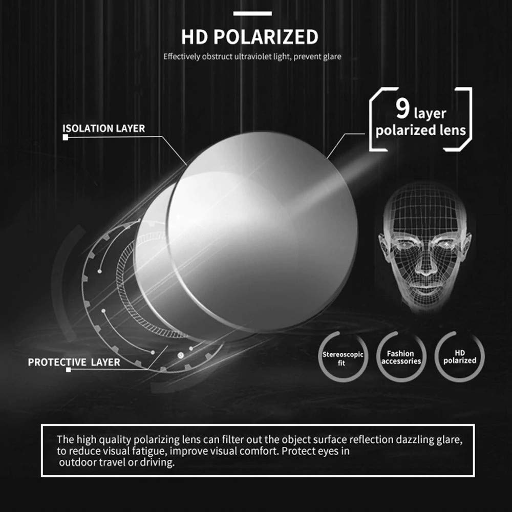 Rgargga Lunette de soleil Homme Polarisées pour Hommes Retro Lunettes de soleil Homme UV400 Protection (Brown)