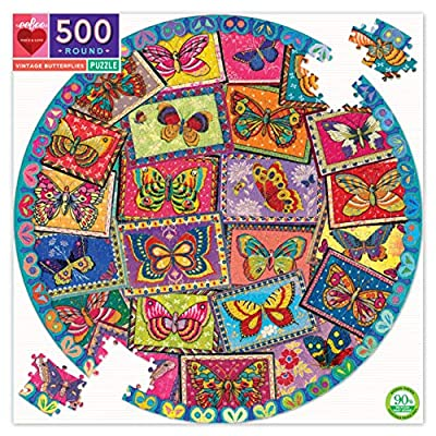 Vintage Butterflies Round Jigsaw Puzzle for Adults, 500 Pieces: Toys & Games