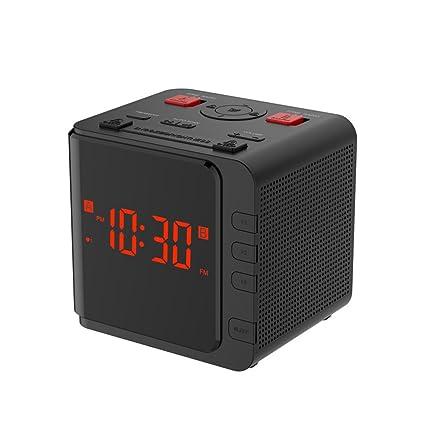 SXWY Am/FM Radio Digital Grande Reloj De Radio Reloj Alarma Dual LED Regulador De