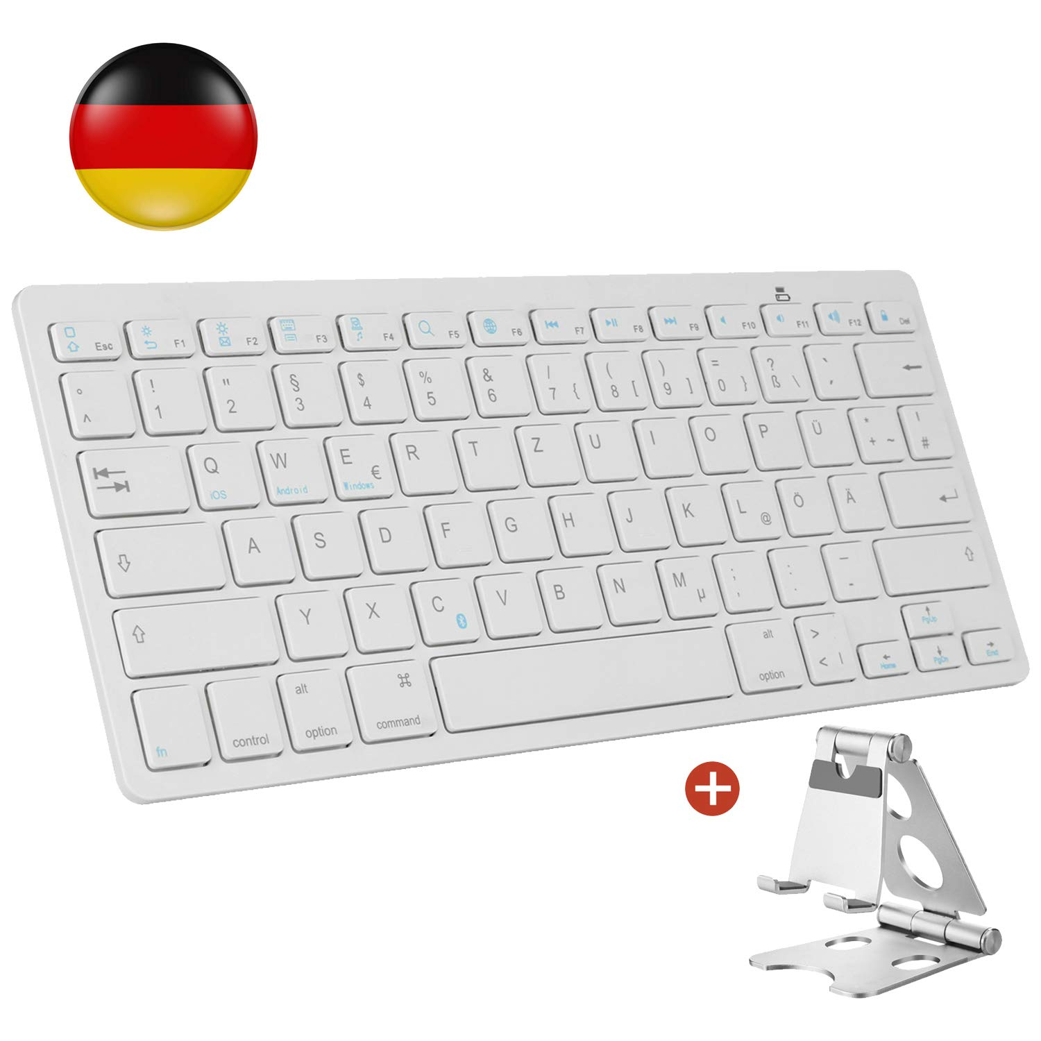 AGPTEK Kabellose Bluetooth Tastatur, Deutsches Bluetooth Tastatur (QWERTZ) mit Zusammenklappbarem Metall Stä nder fü r Apple, iPad, Tablet, Handy, geeignet fü r iOS, Android, Windows Systeme - MEHRWEG