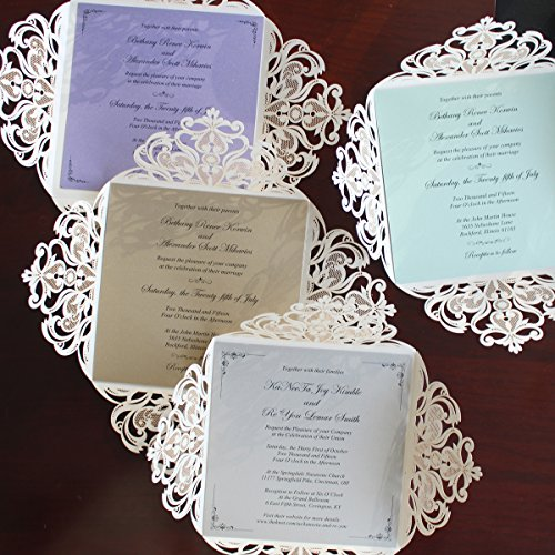 Picky Bride Laser Cut Wedding Invitations Elegant Customized Invitations with your Invite Wording - Set of 50 (Purple Inserts) by Picky Bride (Image #5)