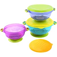 Baby Bowls with Suction Base, 3-Pack Nonslip Spill Proof Feeding Training Bowl Dinnerware with Seal Easy Lid for Babies, BPA-Free, for Over 6 Months Infants, Colorful