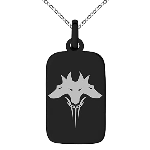 Amazon Black Stainless Steel Greek Mythology Cerberus Symbol