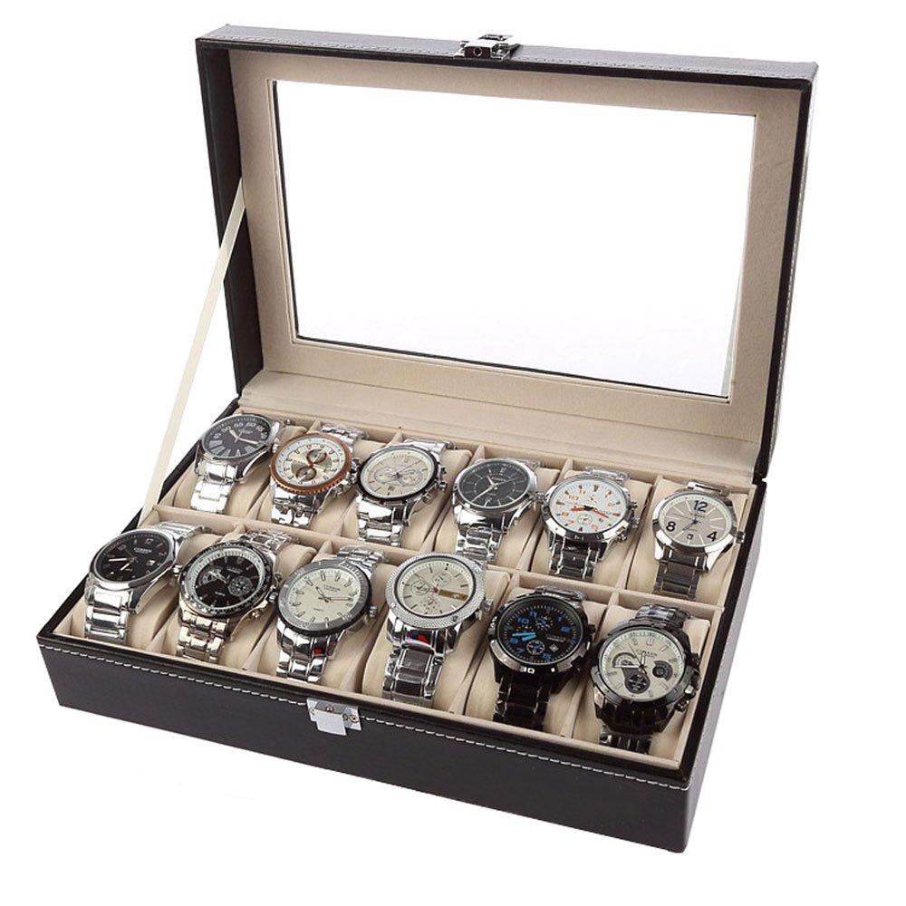 lautechcoレザージュエリー腕時計ボックス12スロット表示ストレージwith枕スロット頑丈なロックfor Men B06WWR9HL5