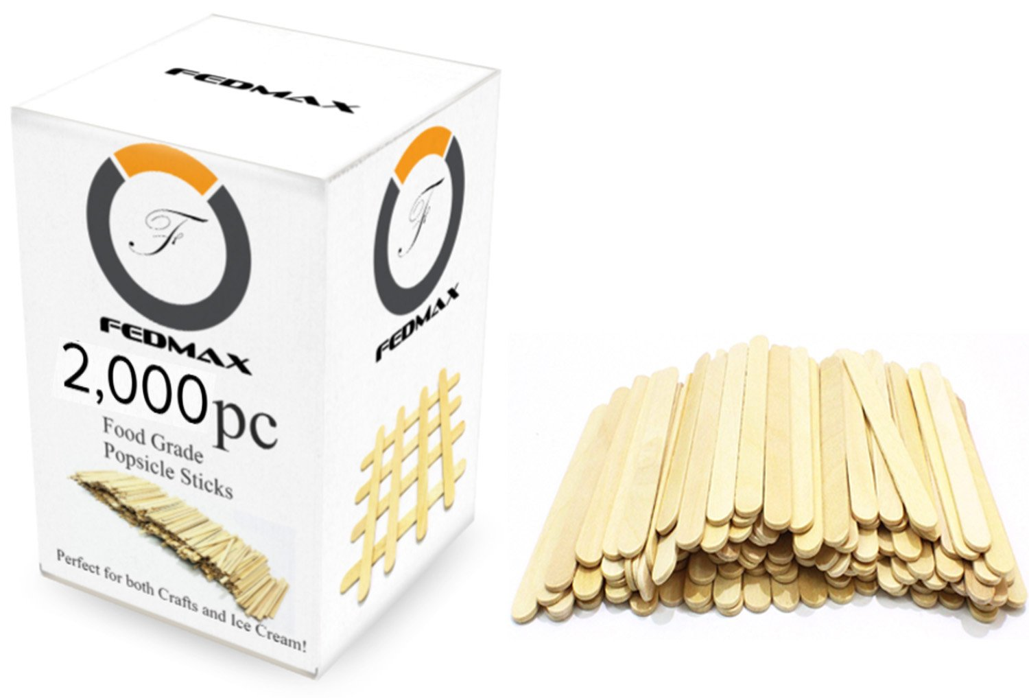 Popsicle Sticks, 2000pc, Standard 4-1/2'' Length, FDA Approved Food Grade Wooden Ice Cream Sticks, Great Bulk Sticks for Crafts, by Fedmax. (2,000pc)