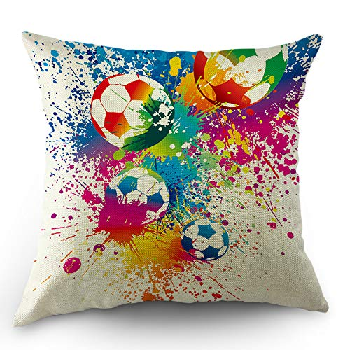 (Moslion Football Pillows Decorative Throw Pillow Cover Sports Passion Rainbow Color Soccer Balls Doodle Polka Dot Pillow Case 18x18 Inch Cotton Linen Square Cushion Cover Christmas Sofa Bed)