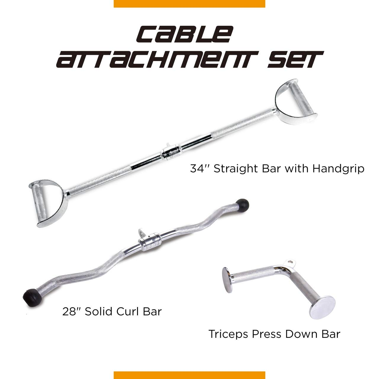 CAP Barbell 28'' Curl Bar & 34'' Pro-Style LAT Bar with Revolving Hanger & V-Shaped Triceps Press Down Attachment Set