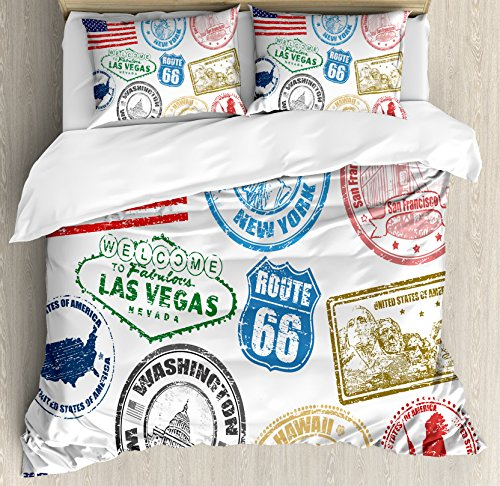 Ambesonne United States Duvet Cover Set King Size, Grunge Stamps of America Las Vegas New York San Francisco Hawaii Illustration, Decorative 3 Piece Bedding Set with 2 Pillow Shams, Multicolor (York Las New Vegas Hotel)