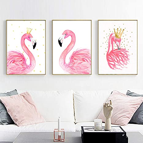 queenland 3 Pieces Pink Flamingos Paintings Picture Prints on Canvas Walls  Decoration, Modern Wall Paintings Kid\'s Room Pincess Bedroom Home Office ...