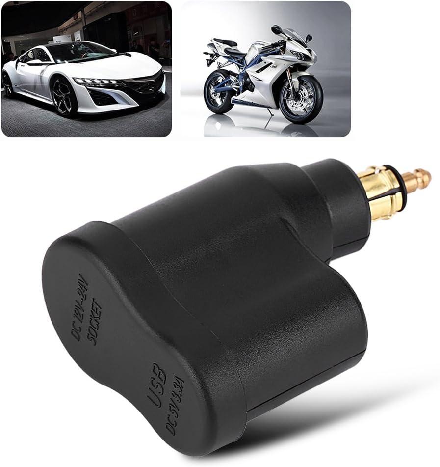Qiilu 12-24V 3.3A Motorcycle Dual USB Charger Power Adapter Cigarette Lighter Socket for BMW Hella DIN Plug