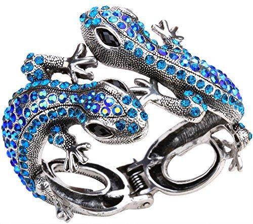 YACQ Womens Twin Gecko Lizard Hinged Bangle Bracelet Fit Wrist Size 6-3/4 to 7-1/2 Inch - Lead & Nickle Free - Halloween Costome Accessories Jewelry for Women Teen Girls