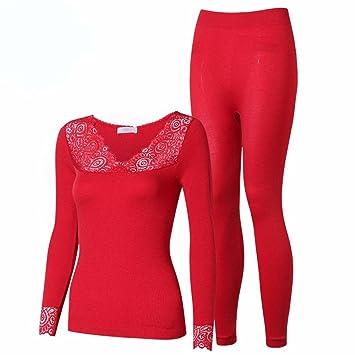 LVLIDAN Mujer Ropa interior térmica Manga larga pantalón invierno Encajes sección delgada todo el código rojo