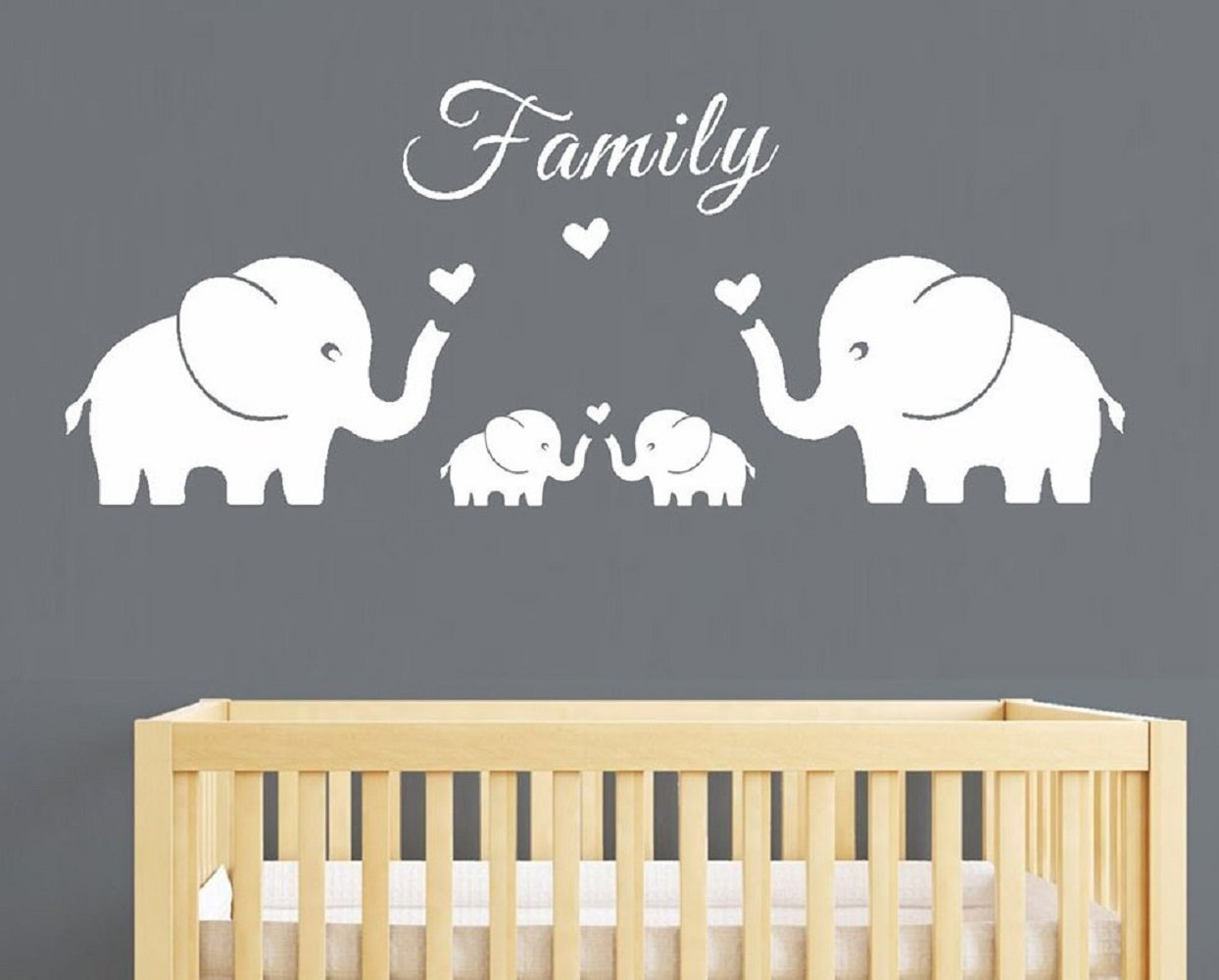 Four Elephants Family Wall Decal Love Hearts Family Words Baby Twins Vinyl Wall Decal Sticker For Baby Nursery Room Decor (Large 56''x20'', White)