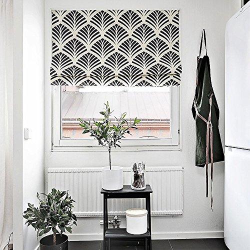 KARUILU home Quick Fix Washable Roman Window Shades Flat Fold,Black and White Pattern (38W x 63H, Ginkgo) (Blue And White Roman Shades)
