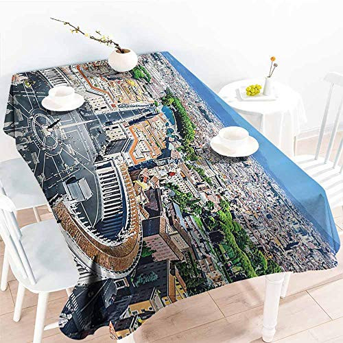 Homrkey Fabric Dust-Proof Table Cover European Cityscape Decor Saint Peters Square in Rome Italian Mediterranean Europe Citscape Urban Mod Print Multi Table Decoration W70 xL84 ()