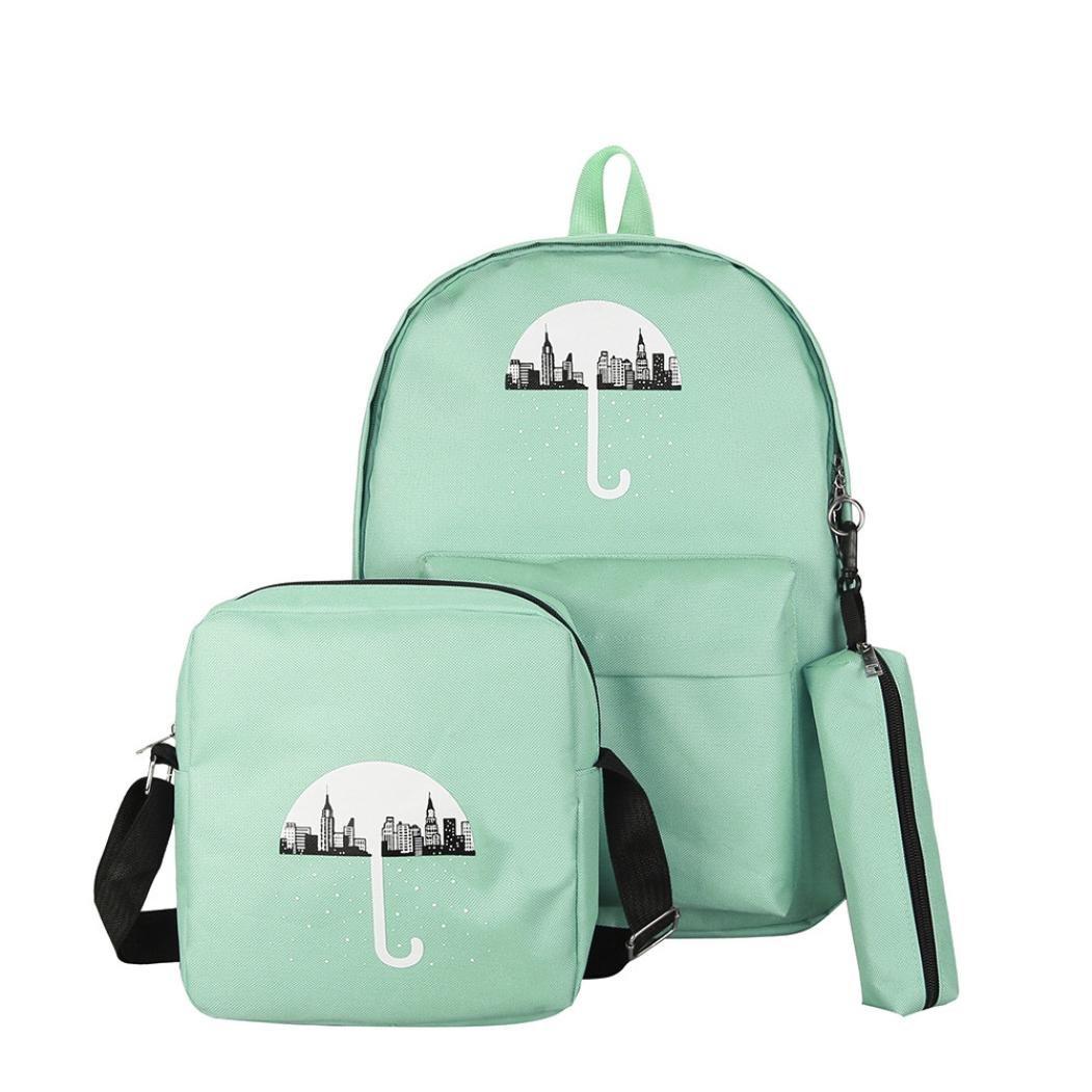 dragon8683pcs Candy couleurs Parasol Print Preppy Sac à dos Jeunes étudiants sac à dos vert