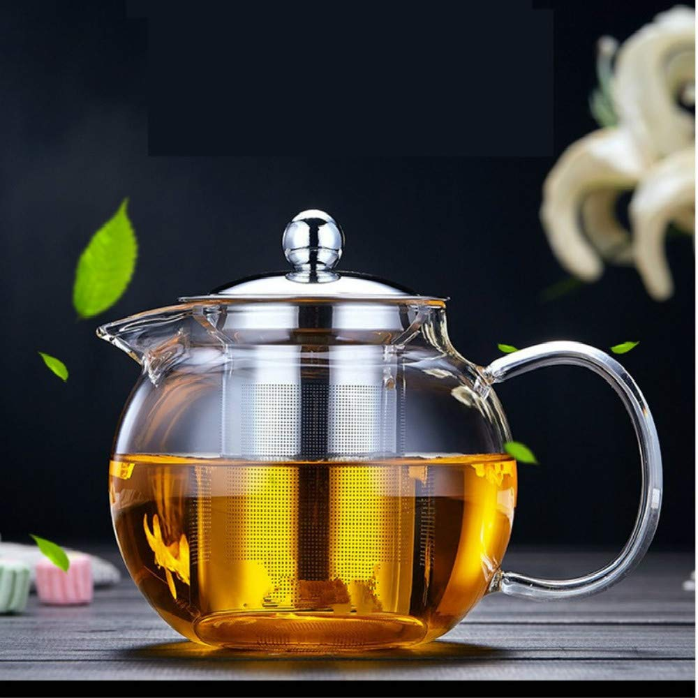 Glass Teapot Tea Kettle - OBOR Borosilicate Glass Tea Maker Stainless Steel with Removable Infuser for Blooming and Loose Leaf, Microwave and Stovetop Safe (43oz/1300ml)