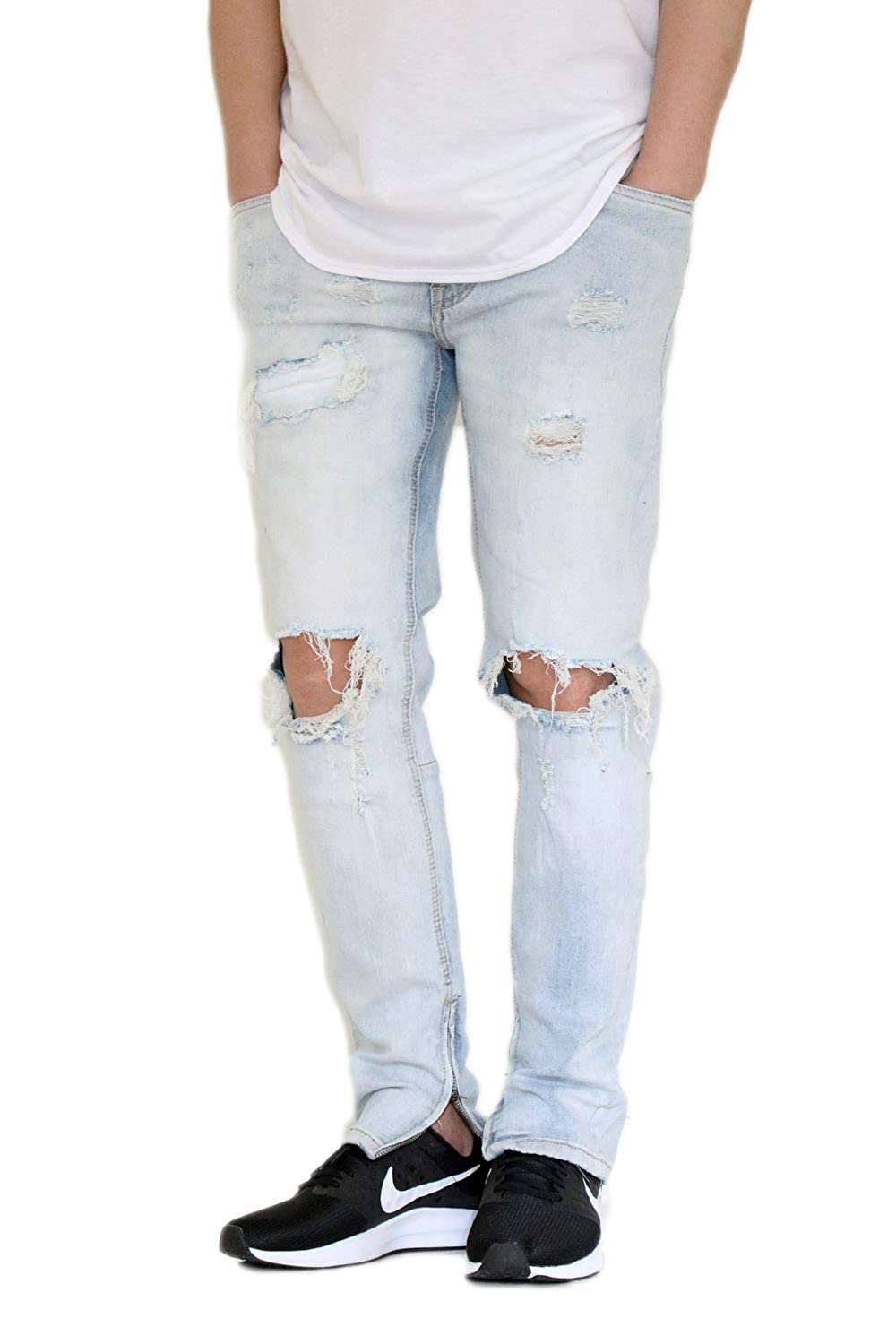 Victorious Mens Knee Destroyed Ankle Zip Jeans