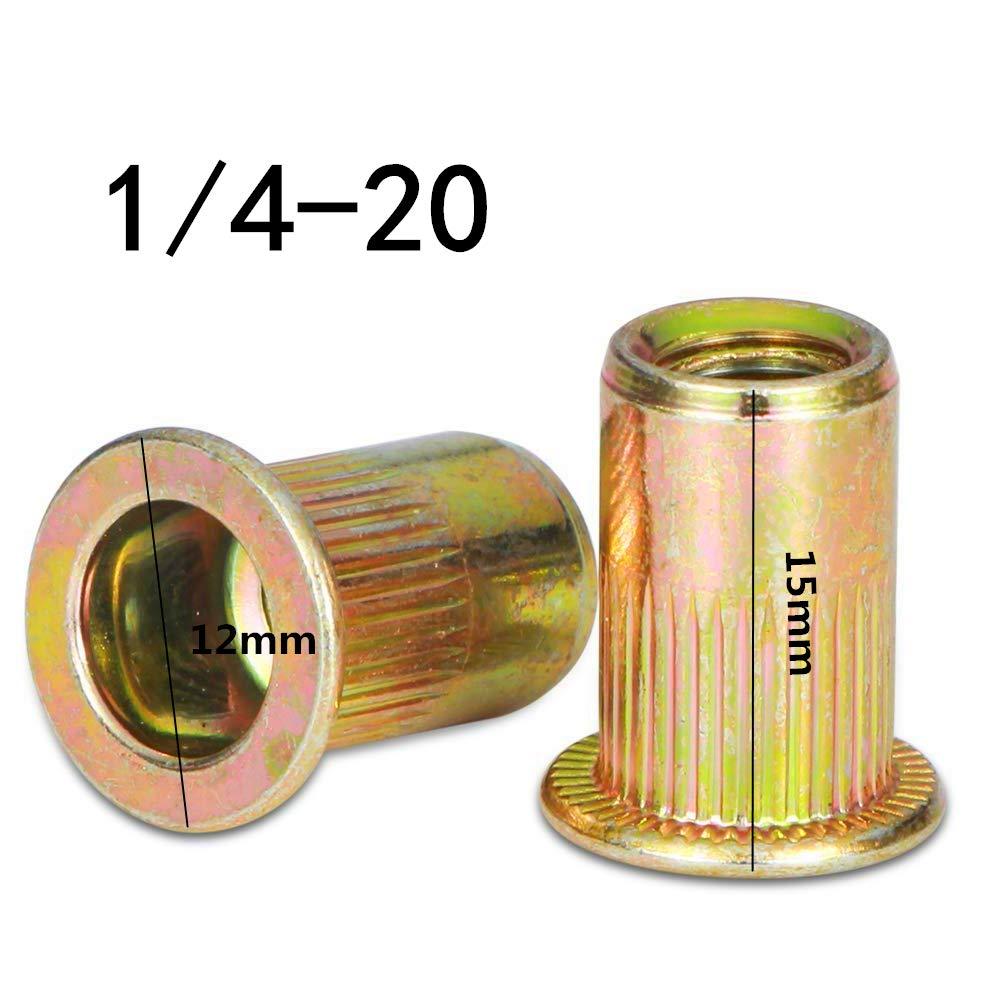 100 Pcs 1//4-20 Zinc Plated Carbon Steel Rivet Nut Flat Head Insert Nutsert