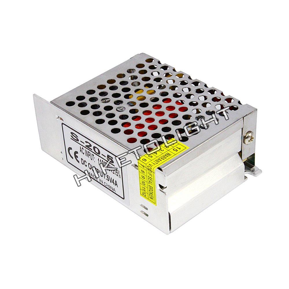 MOVINGTECH LED Power Supply DC Output 5V 4A 20W Aluminum Box Universal Regulated Switching Adaptor Transformer Driver AC Input 110/220V for 5V LED Strip Module CCTV by Movingtech (Image #3)