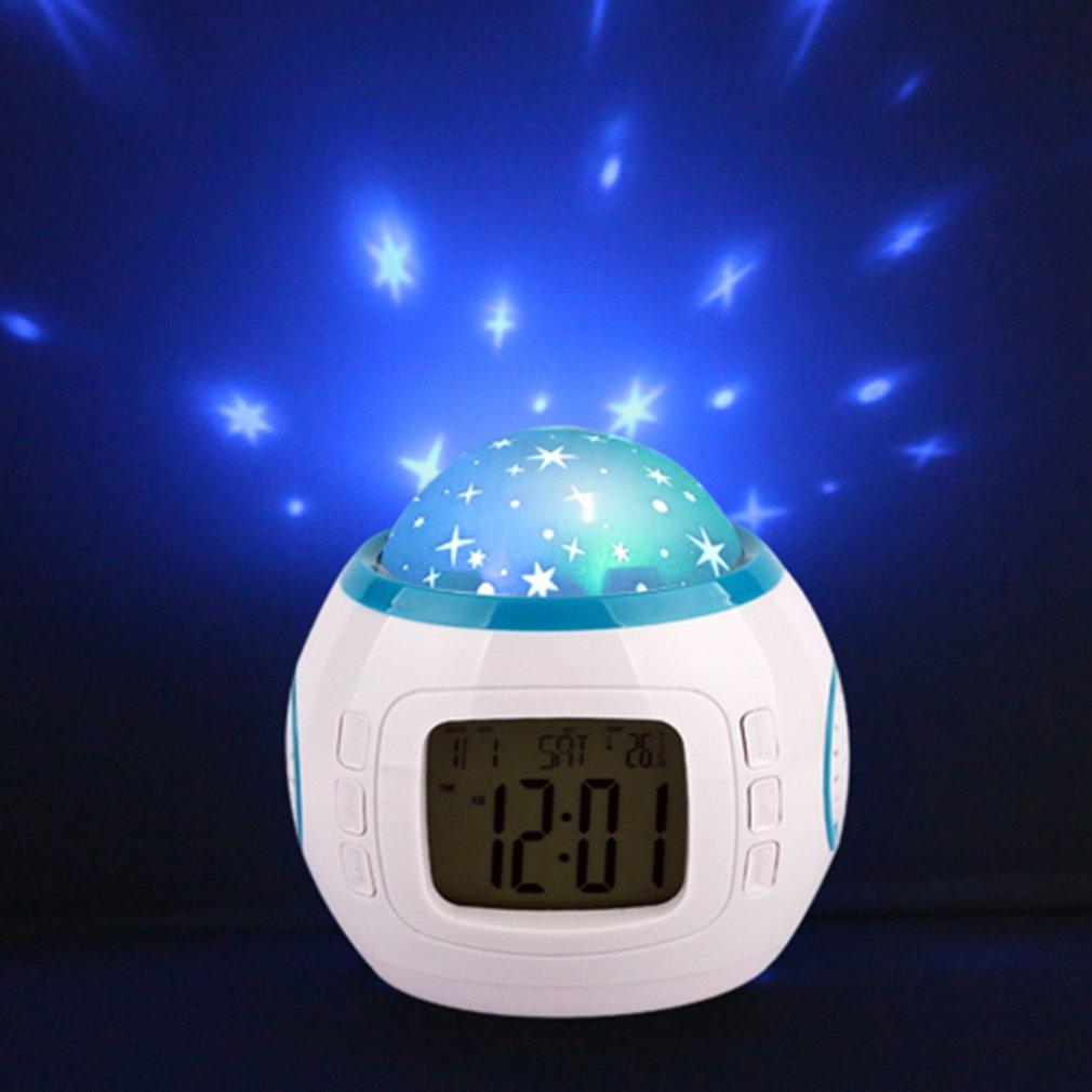 Sky Star Night Light Proiettore Lampada Camera da Letto Sonno Digital Alarm Clock Con Musica Retroilluminazione Calendario Termometro Regalo di Compleanno per Bambini Neonati Ragazzi Ragazze
