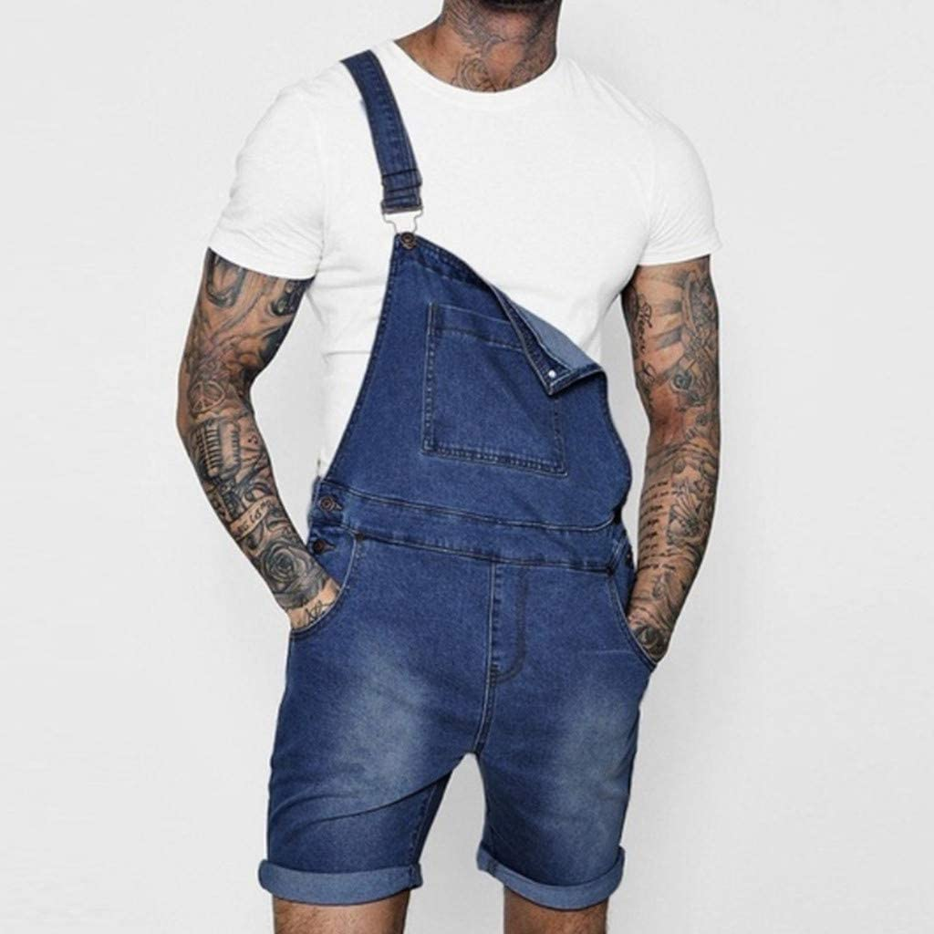 Male Overall Casual Jumpsuit Jeans Wash Broken Pocket Trousers Suspender Short Pants Men Solid Shorts Sports