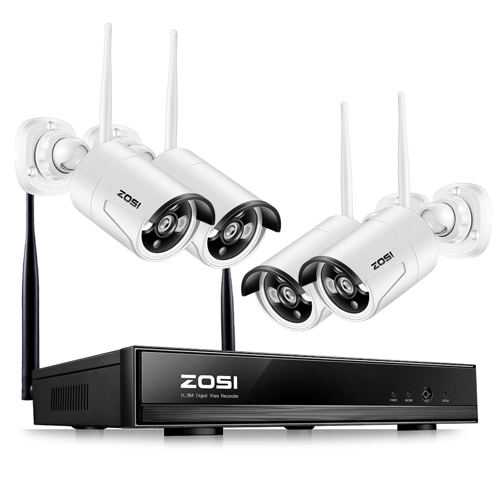 ZOSI Wireless Security Cameras System 1080P HD WiFi NVR and 4pcs 100ft Night Vision 1.0MP 720P Indoor Outdoor Wireless CCTV Cameras, AUTO-PAIR, Smartphone Remote Access (NO Hard Drive) by ZOSI